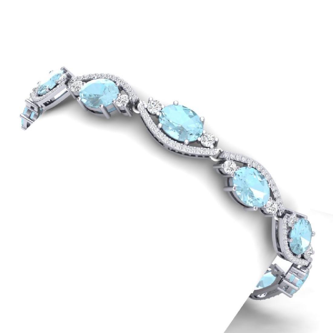 21.6 CTW Royalty Sky Topaz & VS Diamond Bracelet 18K - 2