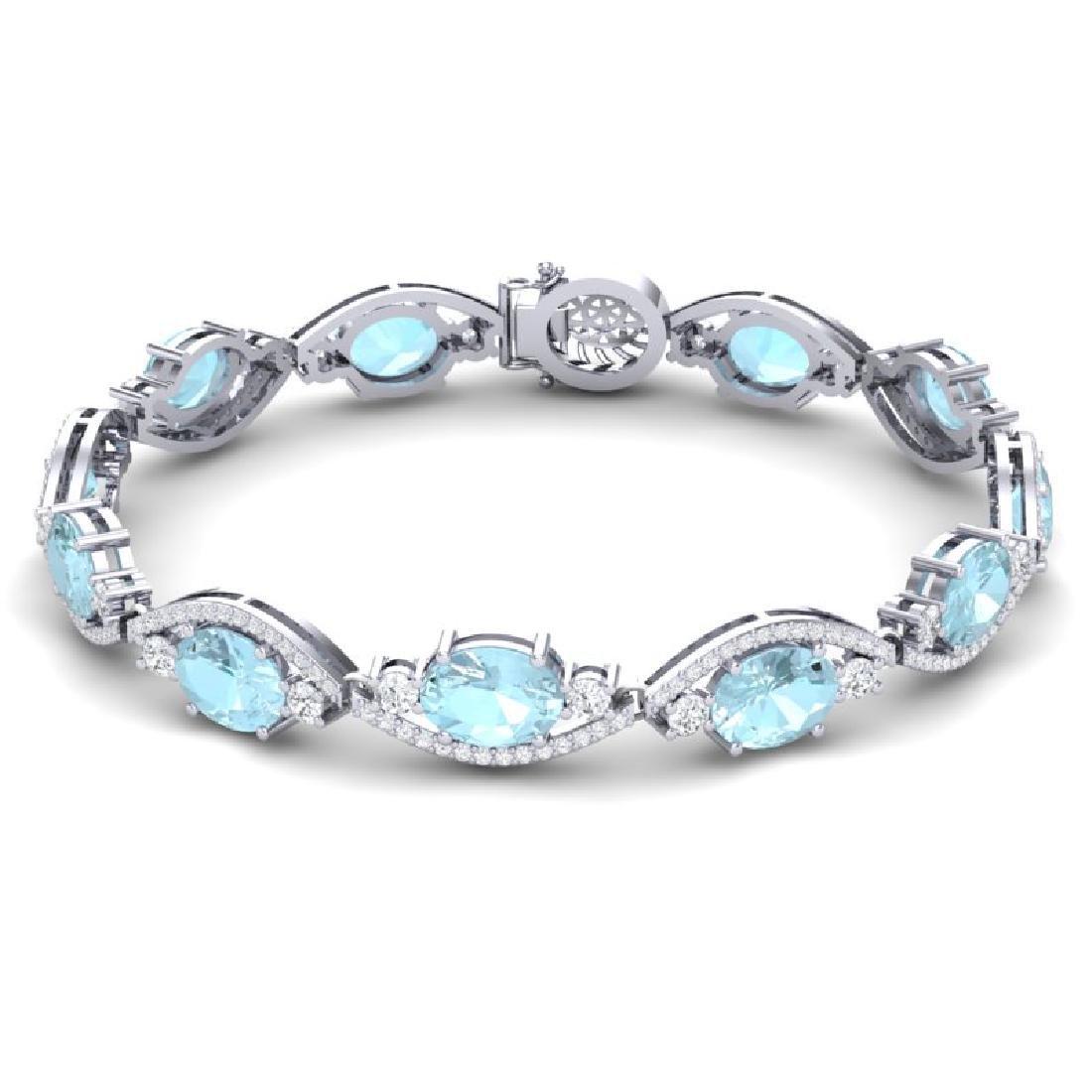 21.6 CTW Royalty Sky Topaz & VS Diamond Bracelet 18K - 3