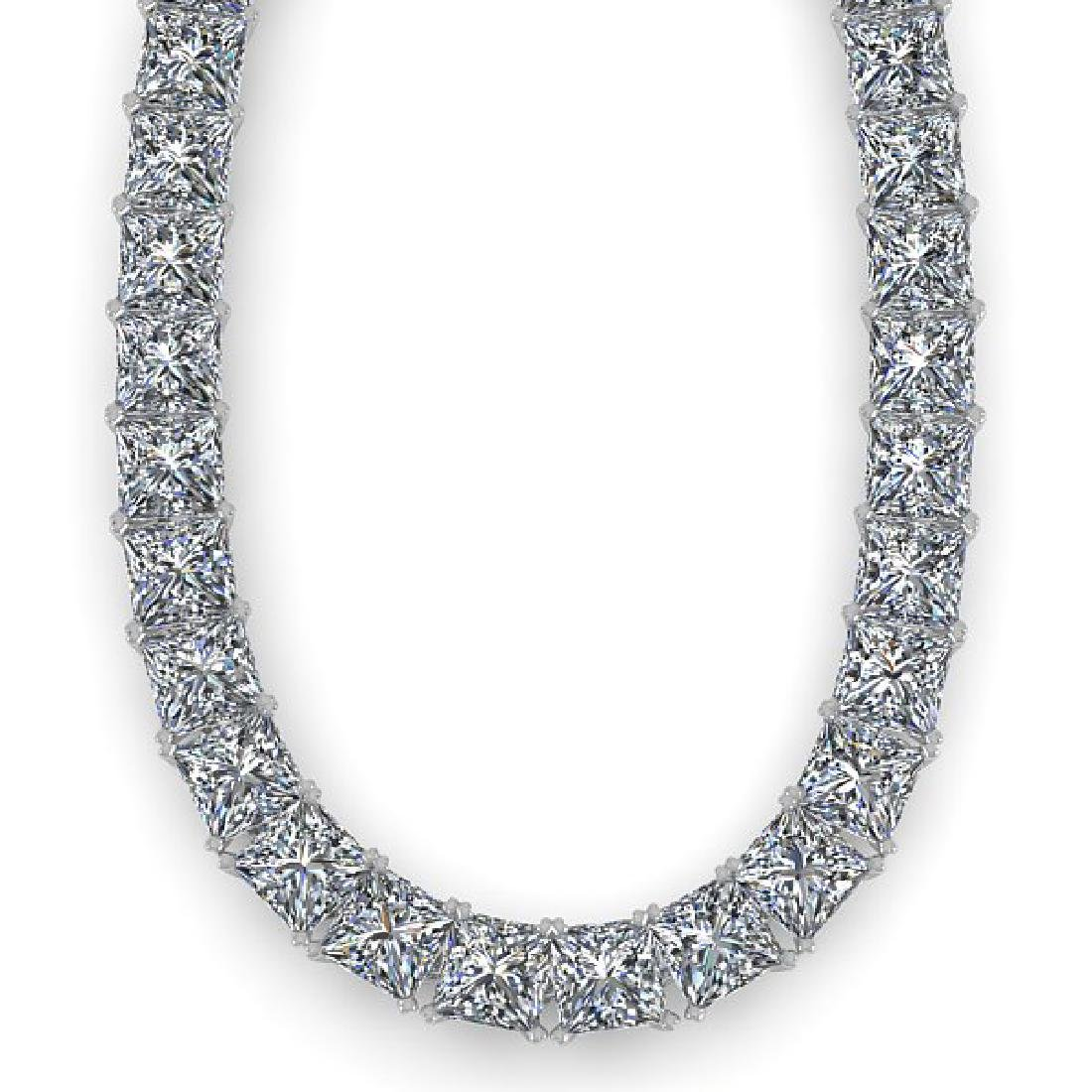 36 CTW Princess Certified SI Diamond Necklace 18K Rose - 2
