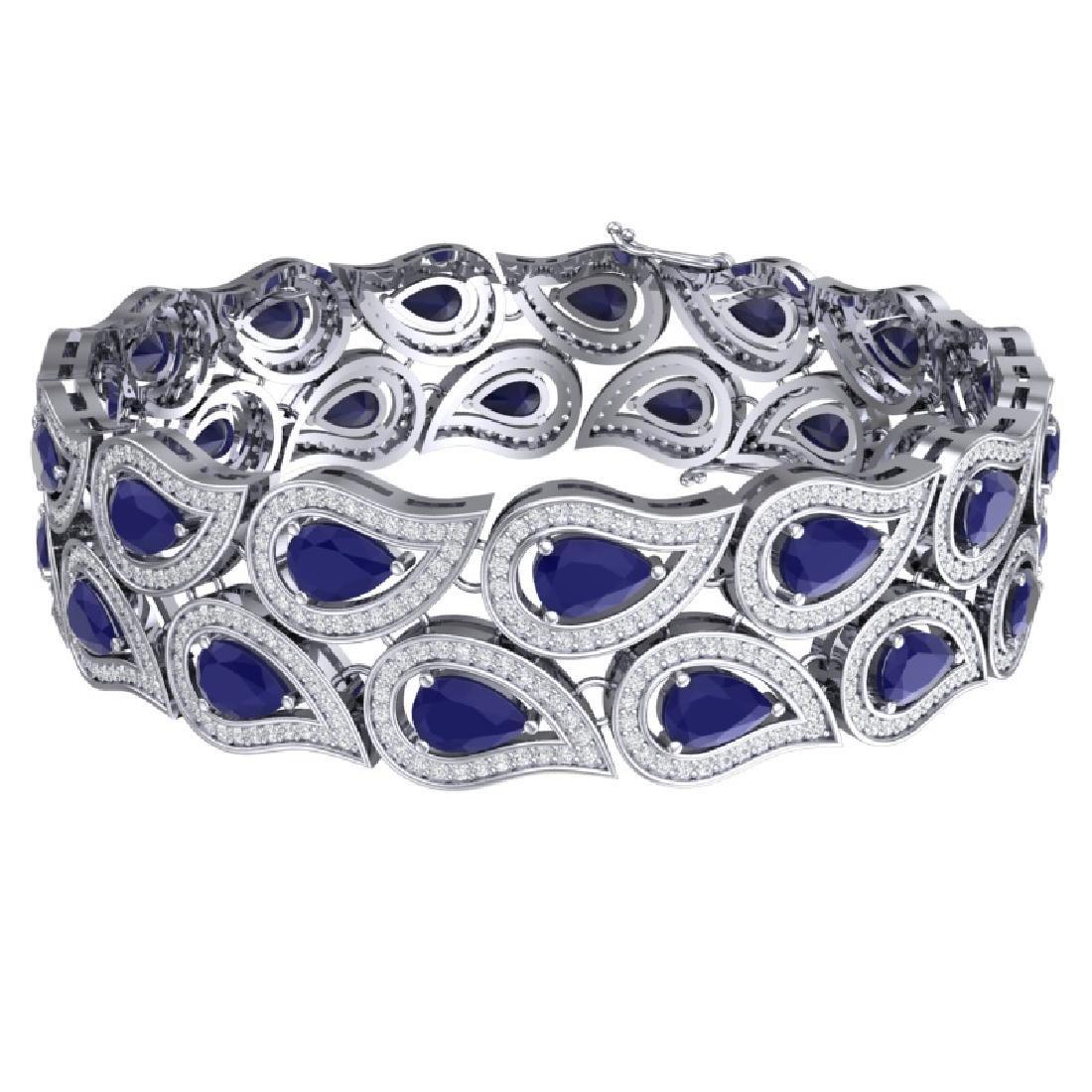 20.1 CTW Royalty Sapphire & VS Diamond Bracelet 18K - 3