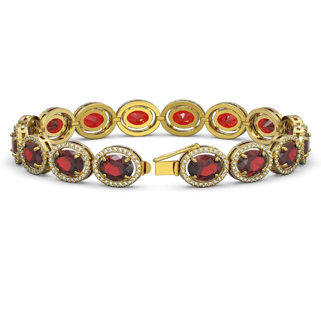 27.28 CTW Garnet & Diamond Halo Bracelet 10K Yellow - 2