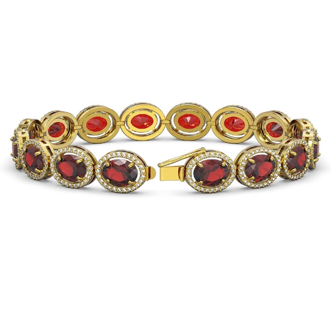27.28 CTW Garnet & Diamond Halo Bracelet 10K Yellow - 2