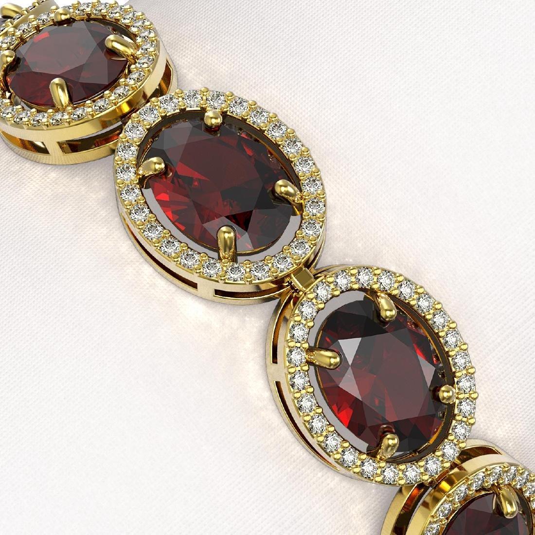 27.28 CTW Garnet & Diamond Halo Bracelet 10K Yellow - 3