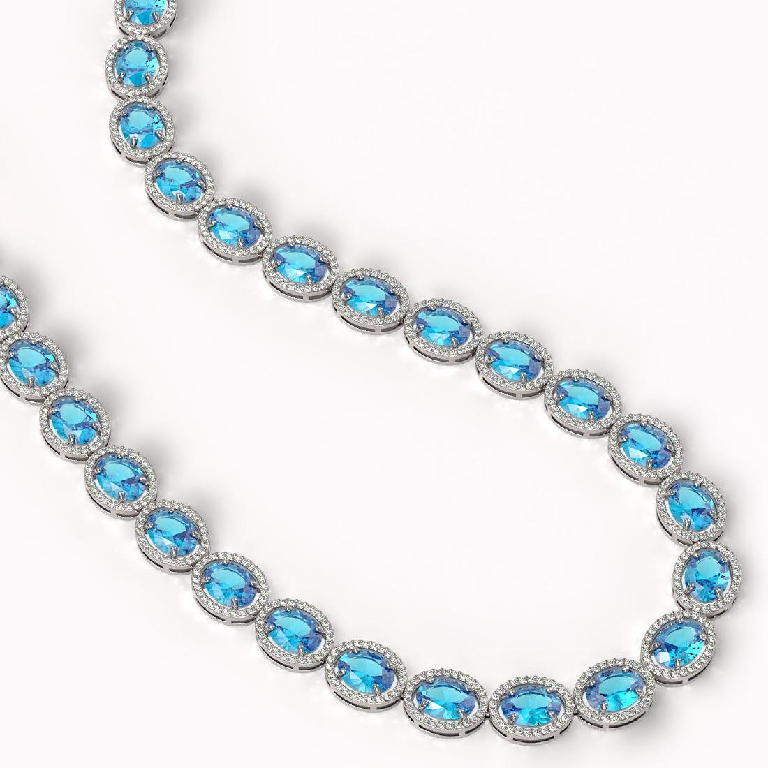 68.17 CTW Swiss Topaz & Diamond Halo Necklace 10K White - 2