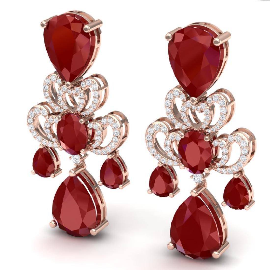 58.73 CTW Royalty Designer Ruby & VS Diamond Earrings - 2