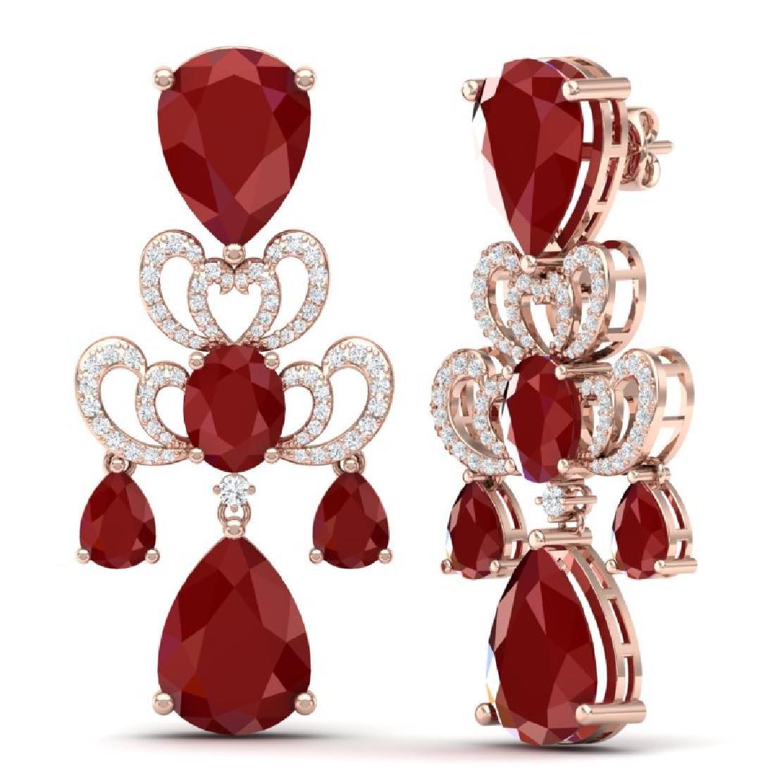 58.73 CTW Royalty Designer Ruby & VS Diamond Earrings - 3