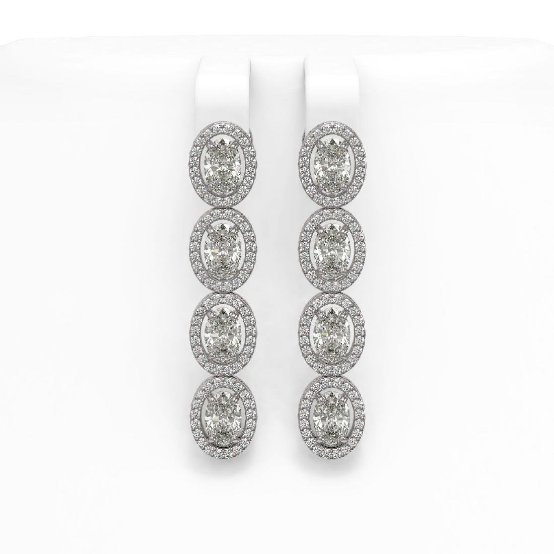 6.08 CTW Oval Diamond Designer Earrings 18K White Gold