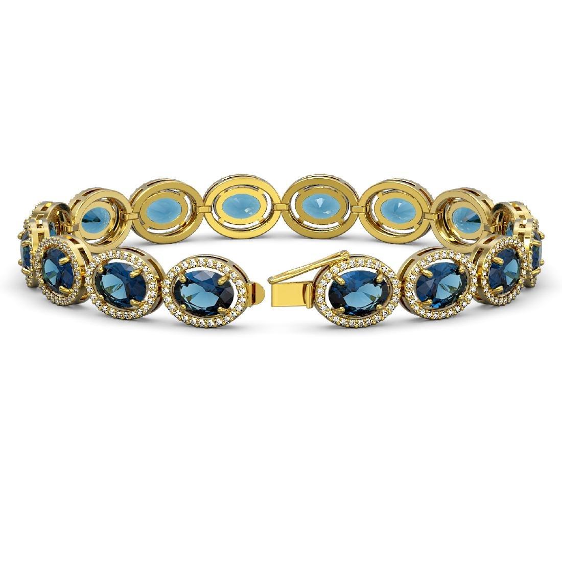 29.53 CTW London Topaz & Diamond Halo Bracelet 10K - 2