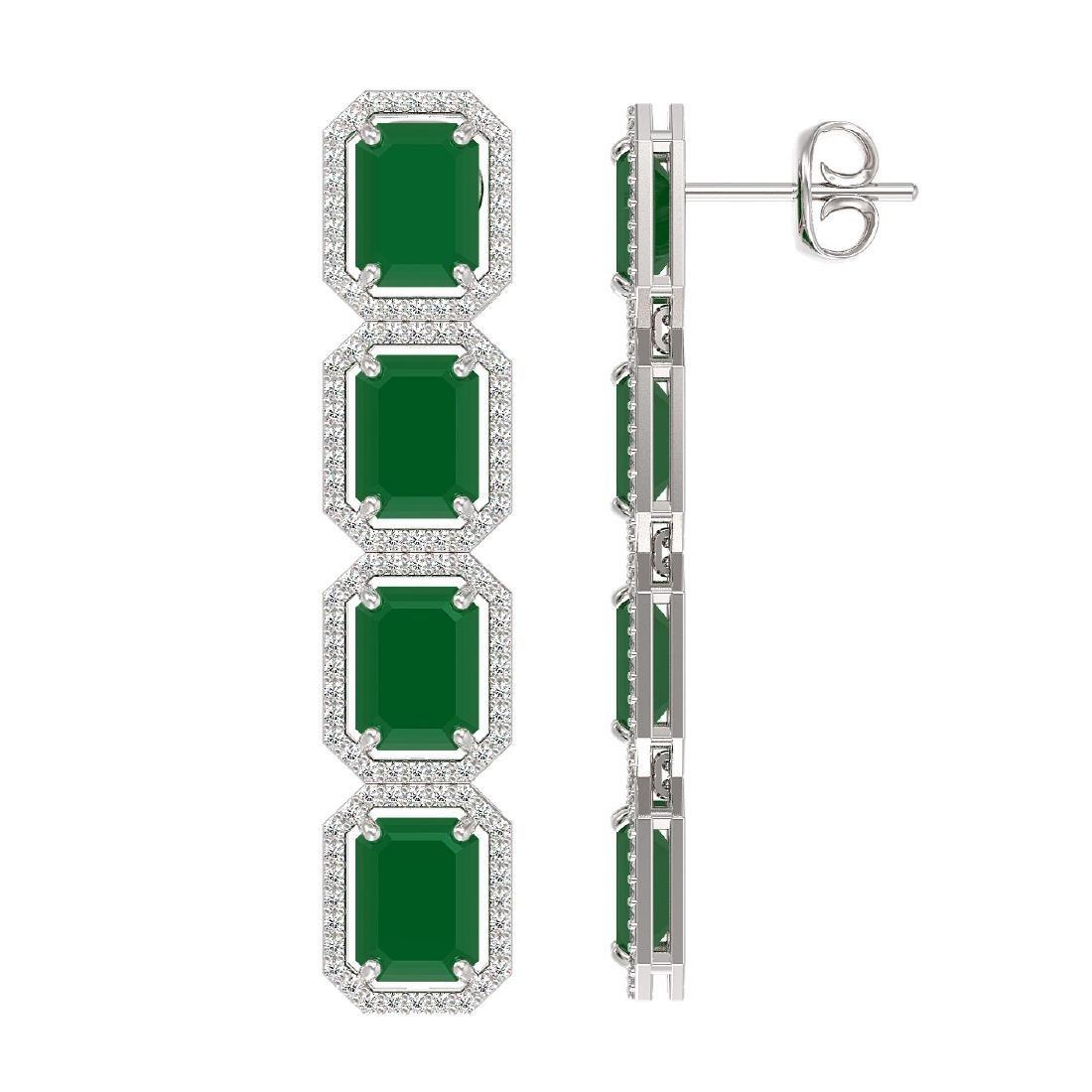 20.59 CTW Emerald & Diamond Halo Earrings 10K White - 2