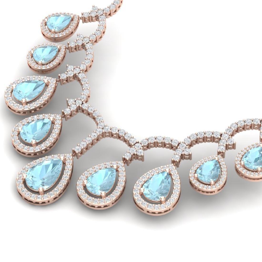 32.62 CTW Royalty Sky Topaz & VS Diamond Necklace 18K - 2