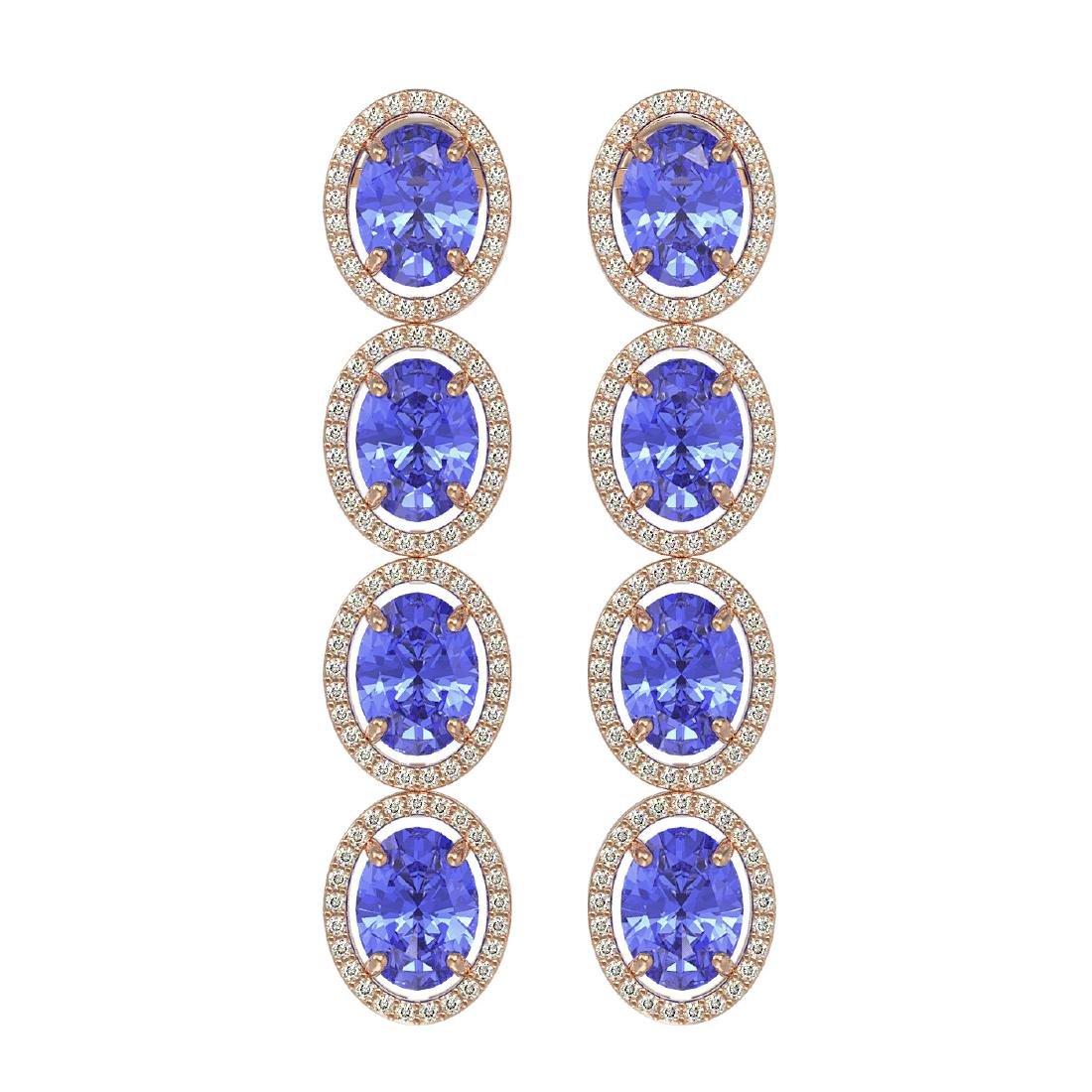 13.64 CTW Tanzanite & Diamond Halo Earrings 10K Rose