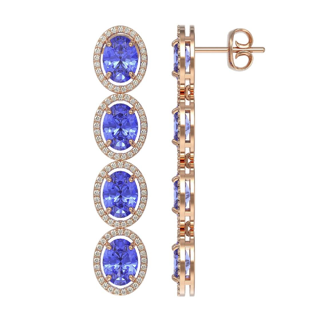 13.64 CTW Tanzanite & Diamond Halo Earrings 10K Rose - 2