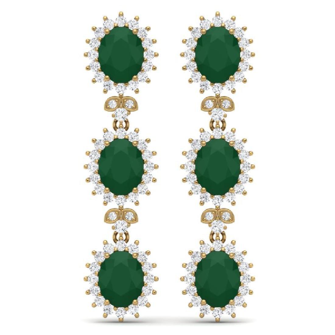24.52 CTW Royalty Emerald & VS Diamond Earrings 18K
