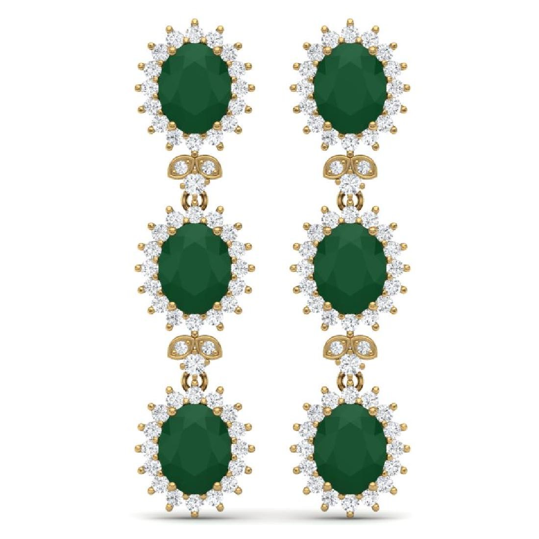 24.52 CTW Royalty Emerald & VS Diamond Earrings 18K