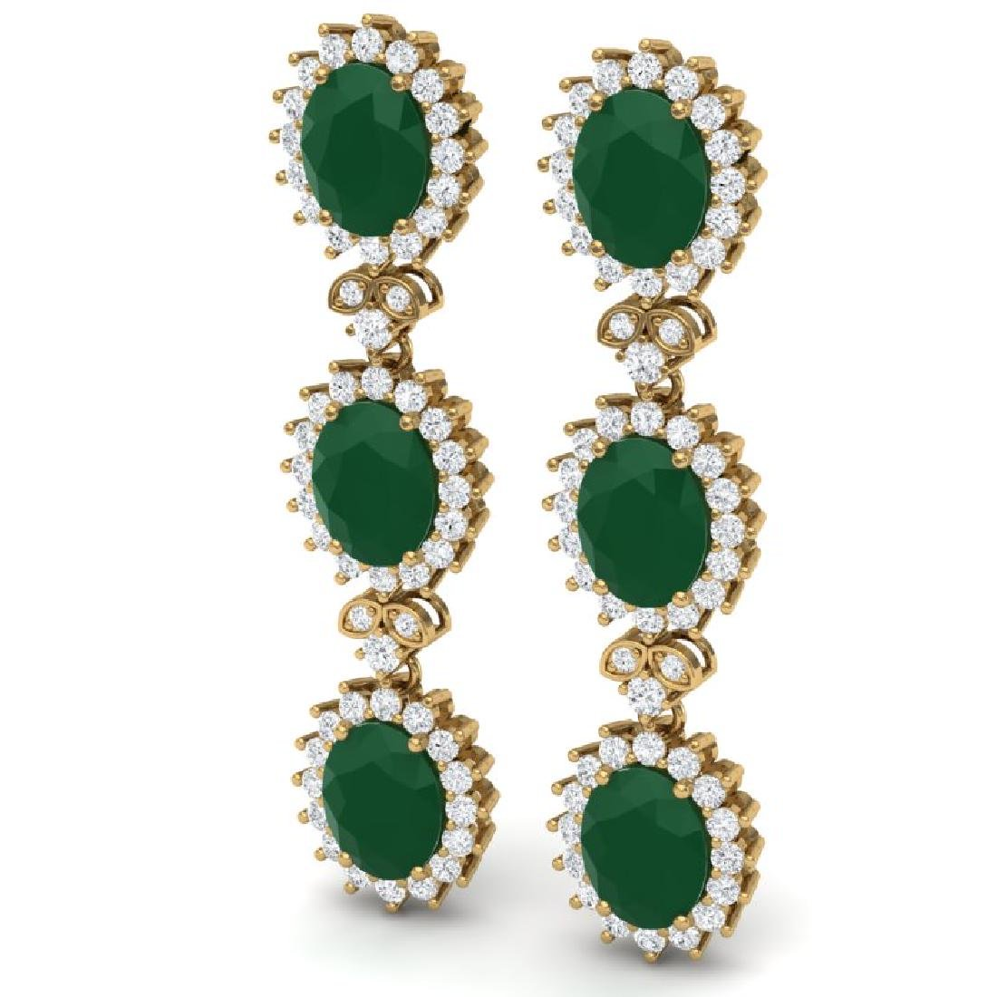 24.52 CTW Royalty Emerald & VS Diamond Earrings 18K - 2