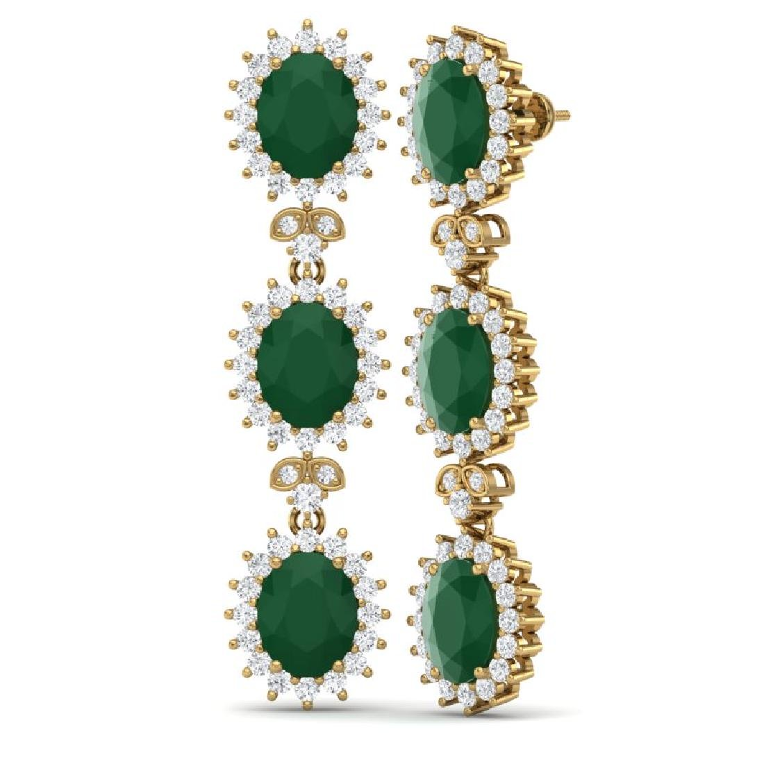 24.52 CTW Royalty Emerald & VS Diamond Earrings 18K - 3