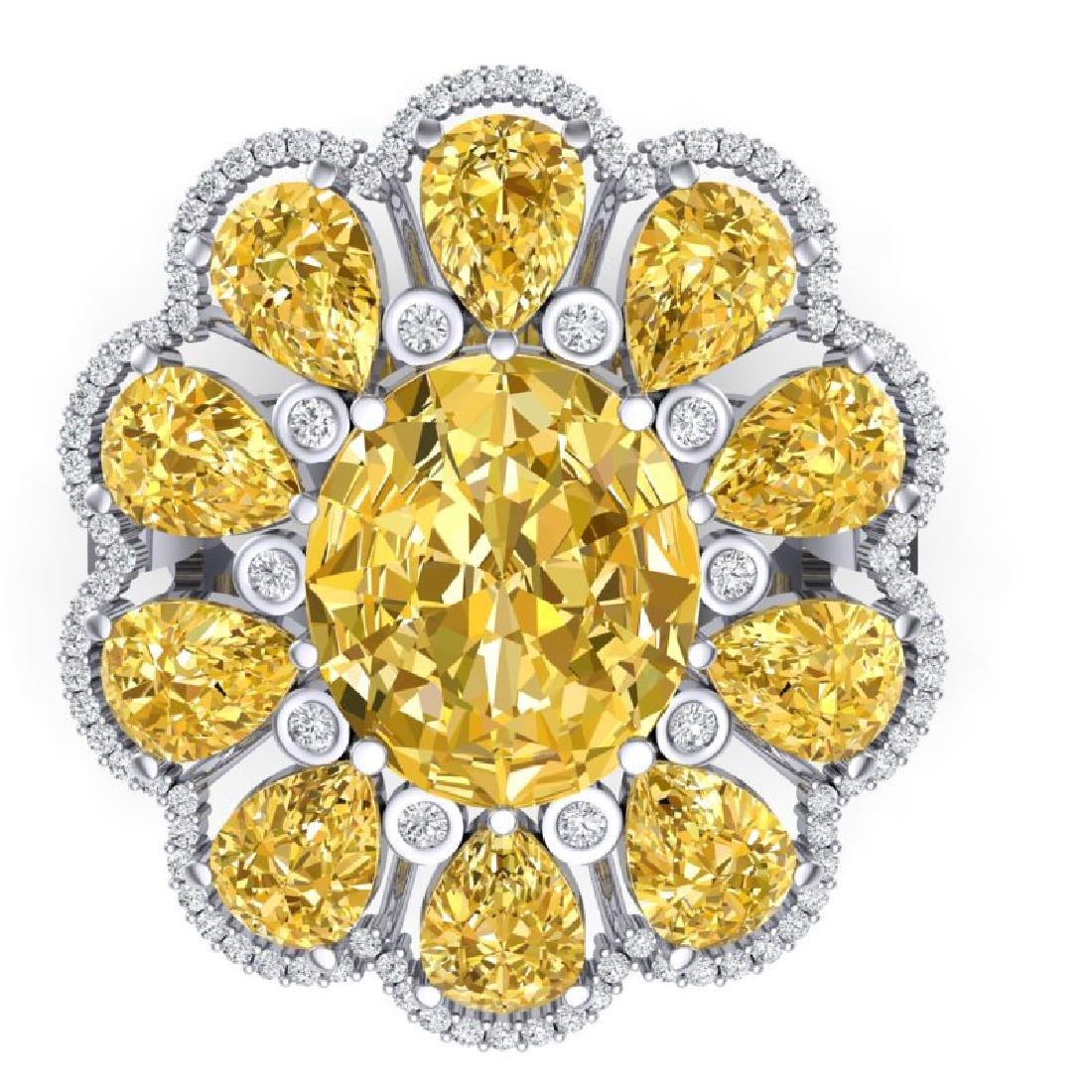18.53 CTW Royalty Canary Citrine & VS Diamond Ring 18K - 2