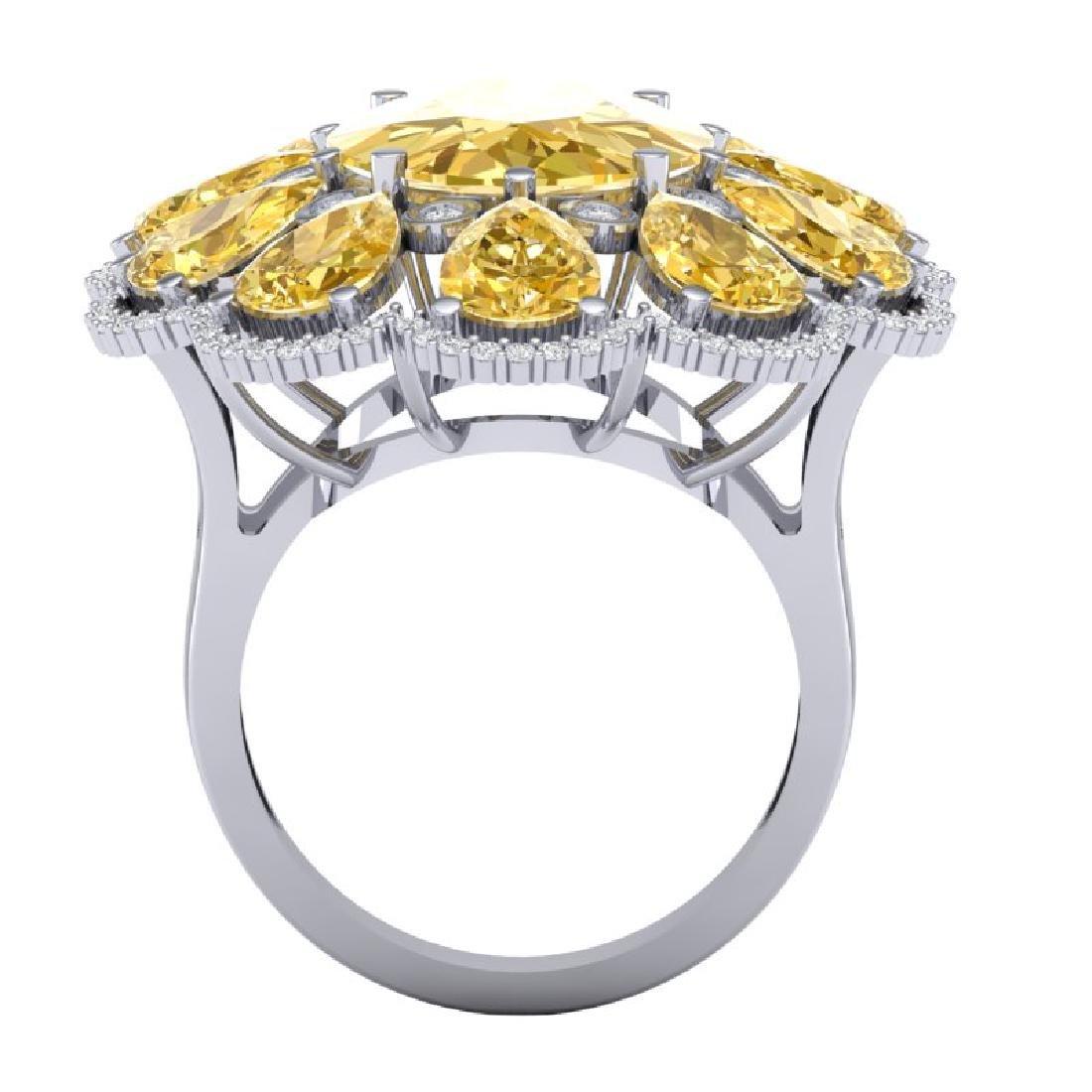 18.53 CTW Royalty Canary Citrine & VS Diamond Ring 18K - 3