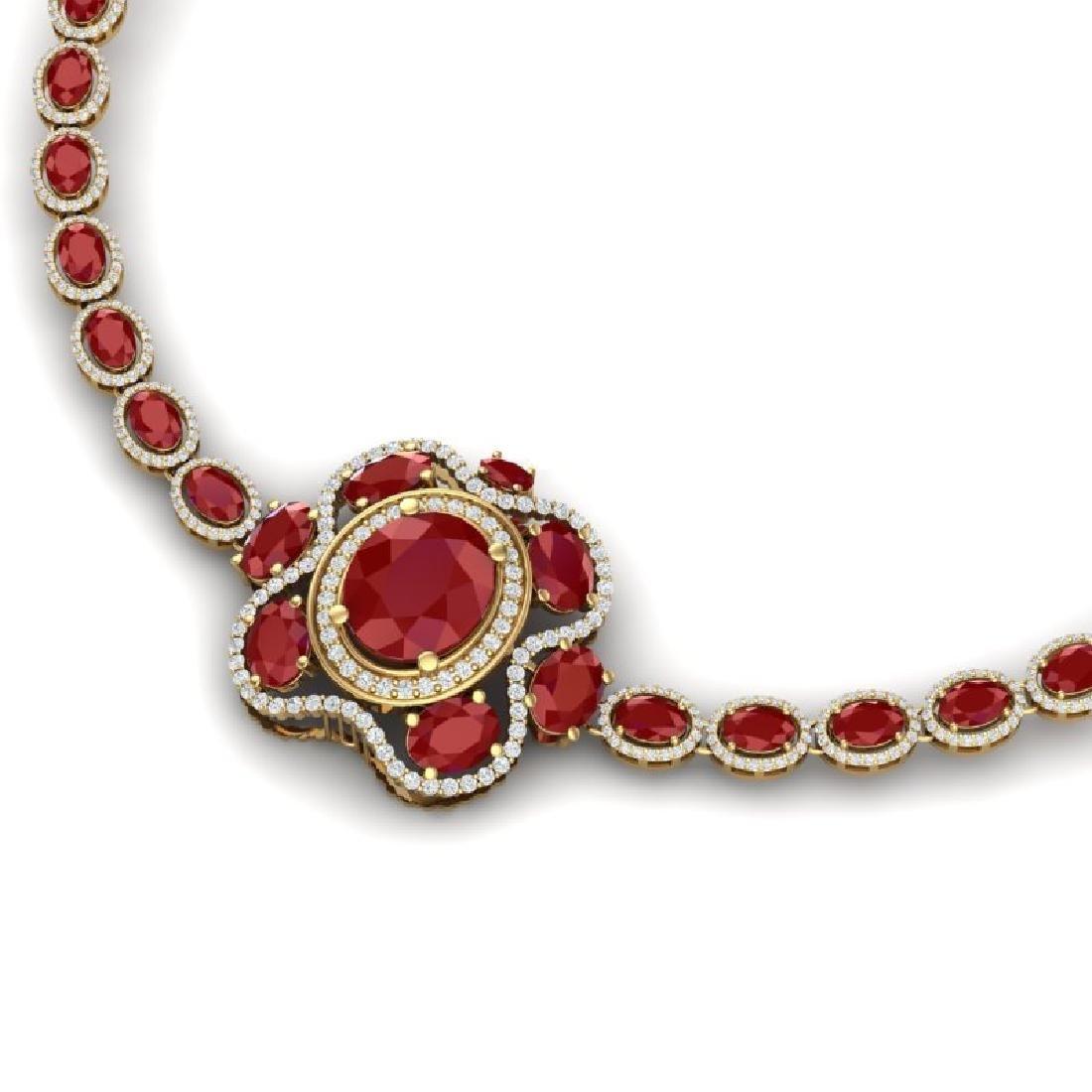 47.43 CTW Royalty Ruby & VS Diamond Necklace 18K Yellow