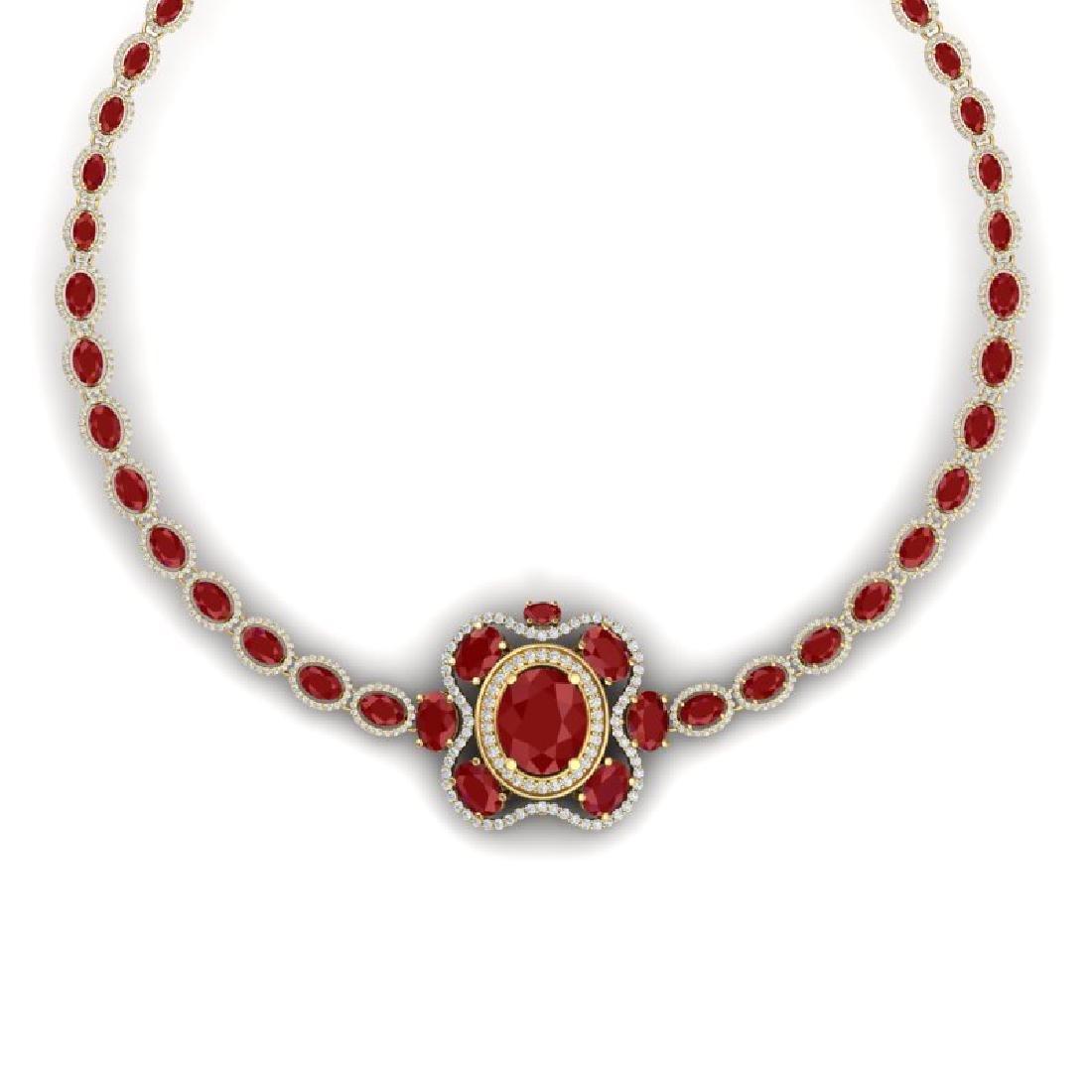 47.43 CTW Royalty Ruby & VS Diamond Necklace 18K Yellow - 2