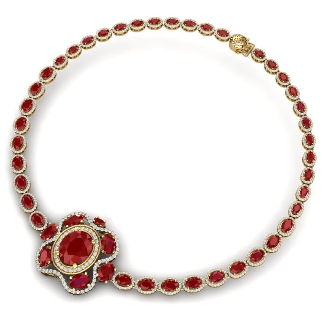 47.43 CTW Royalty Ruby & VS Diamond Necklace 18K Yellow - 3