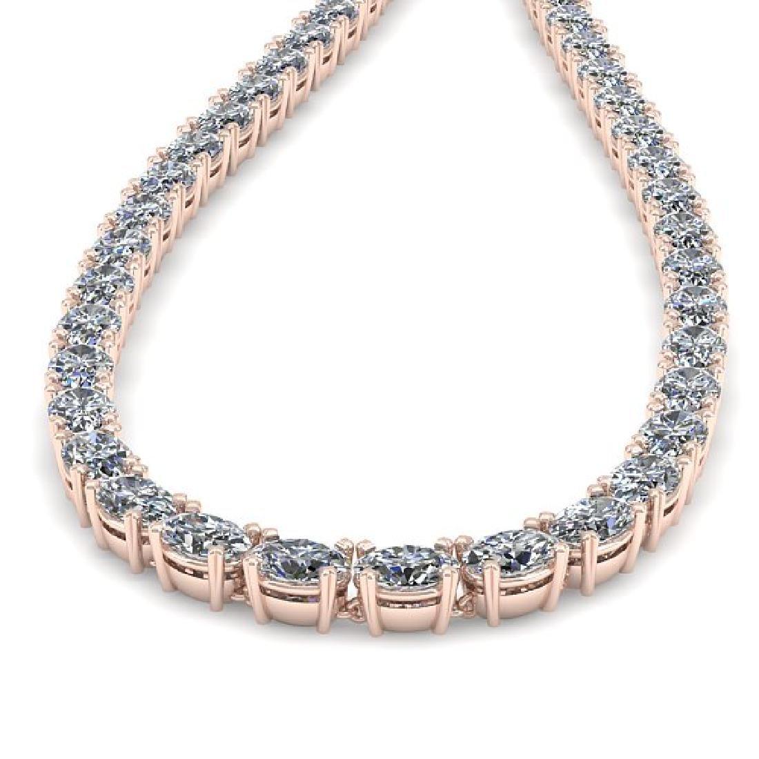 35 CTW Oval Cut Certified SI Diamond Necklace 18K Rose - 2
