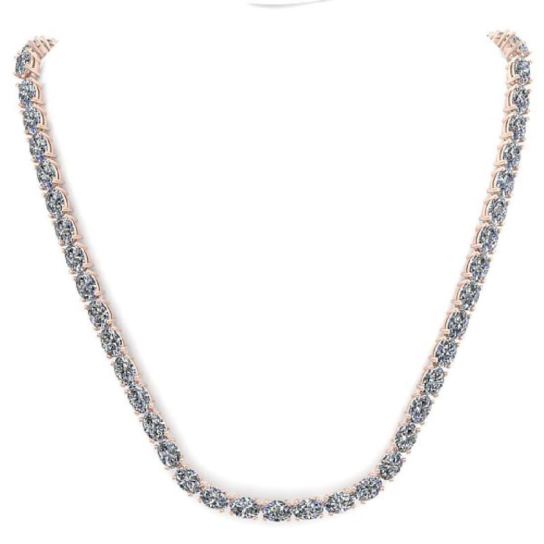 35 CTW Oval Cut Certified SI Diamond Necklace 18K Rose - 3