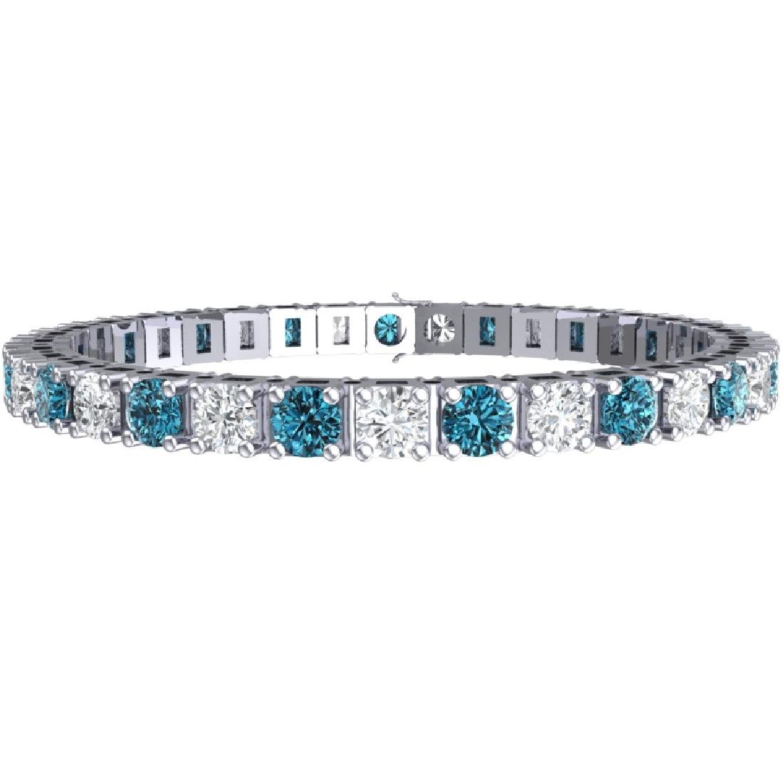 20 CTW SI/I Intense Blue & White Diamond Bracelet 18K - 3