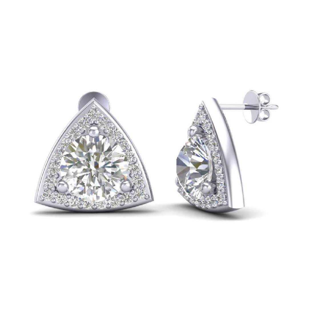 3 CTW VS/SI Diamond Stud Earrings 18K White Gold - 2