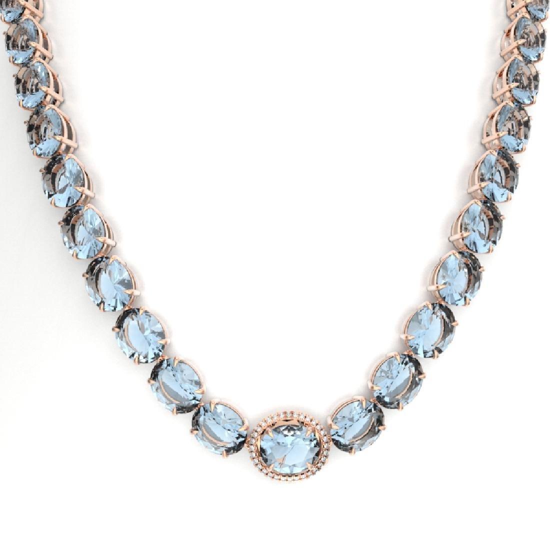 136 CTW Aquamarine & VS/SI Diamond Necklace 14K Rose - 2