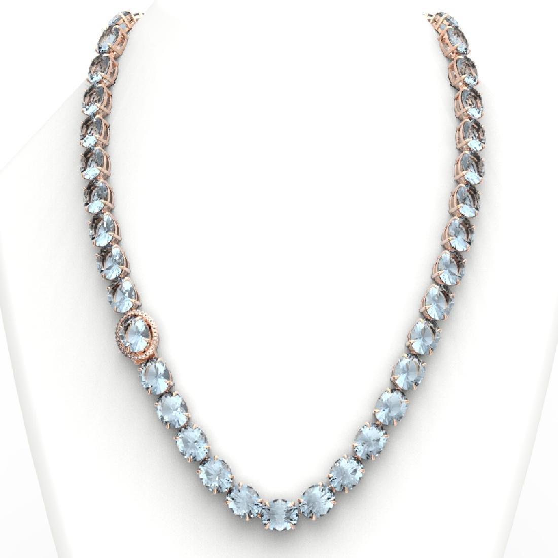 136 CTW Aquamarine & VS/SI Diamond Necklace 14K Rose - 3