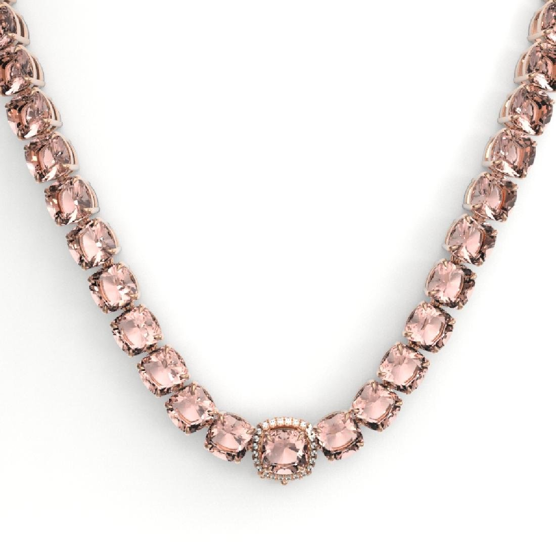 87 CTW Morganite & VS/SI Diamond Pave Necklace 14K Rose - 2