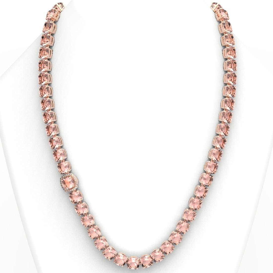 87 CTW Morganite & VS/SI Diamond Pave Necklace 14K Rose - 3