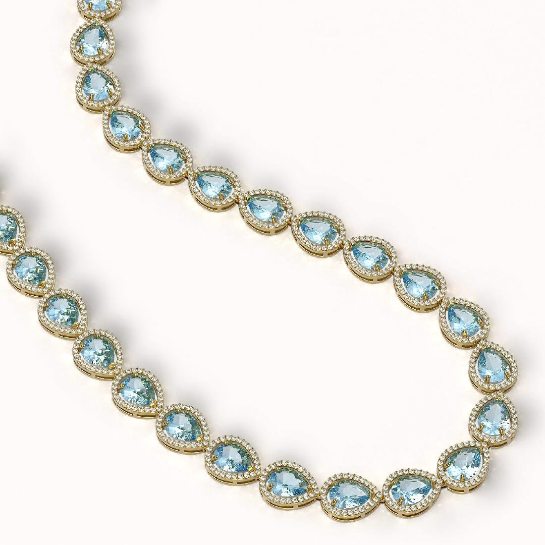 41.6 CTW Aquamarine & Diamond Halo Necklace 10K Yellow - 2