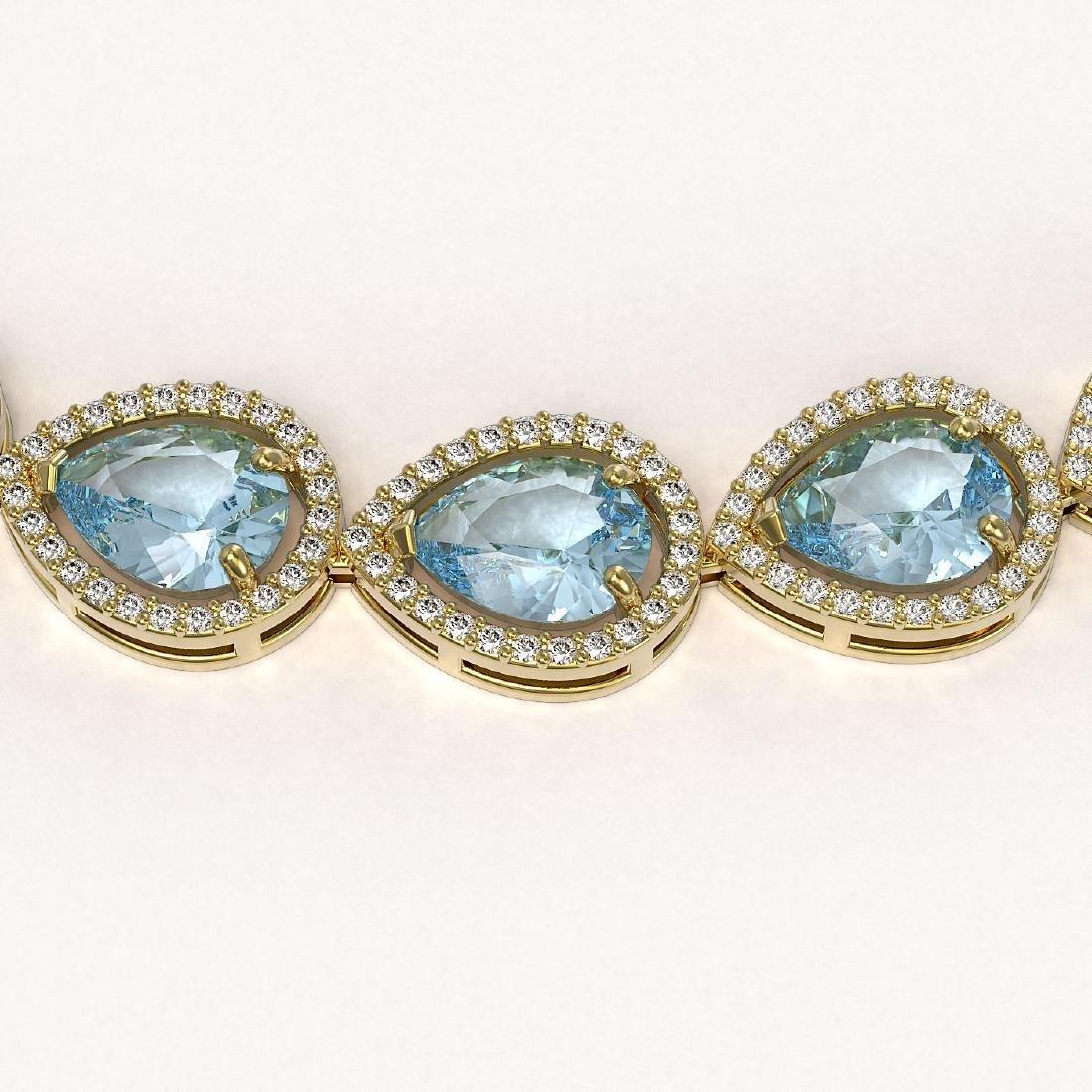 41.6 CTW Aquamarine & Diamond Halo Necklace 10K Yellow - 3