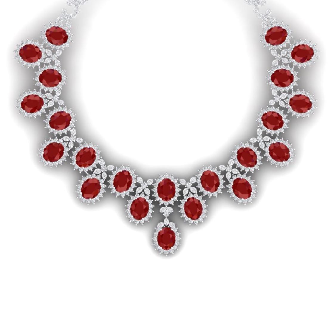 81 CTW Royalty Designer Ruby & VS Diamond Necklace 18K