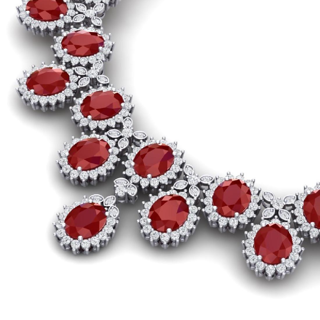 81 CTW Royalty Designer Ruby & VS Diamond Necklace 18K - 2