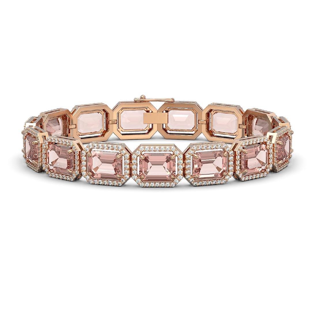 37.11 CTW Morganite & Diamond Halo Bracelet 10K Rose