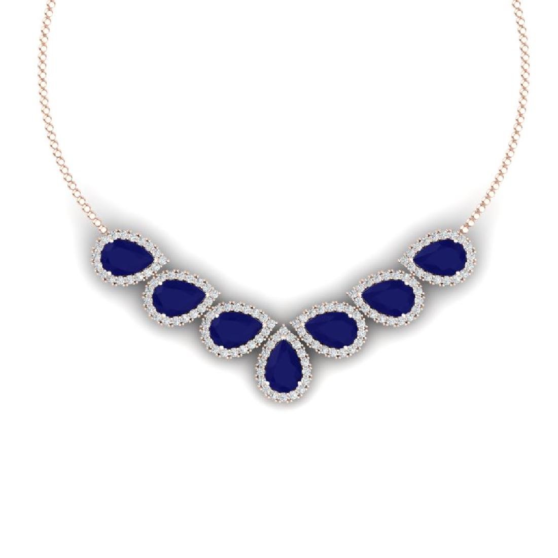 34.72 CTW Royalty Sapphire & VS Diamond Necklace 18K