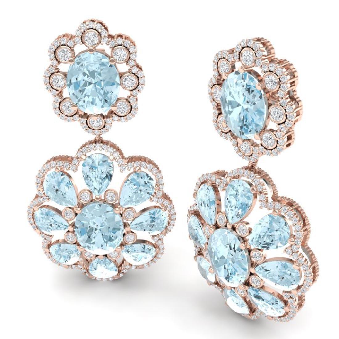32.99 CTW Royalty Sky Topaz & VS Diamond Earrings 18K - 3