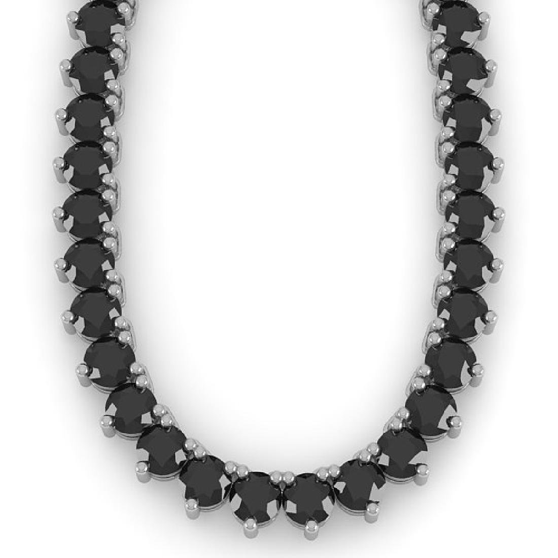 60 CTW Solitaire Certified Black VS Diamond Necklace - 2