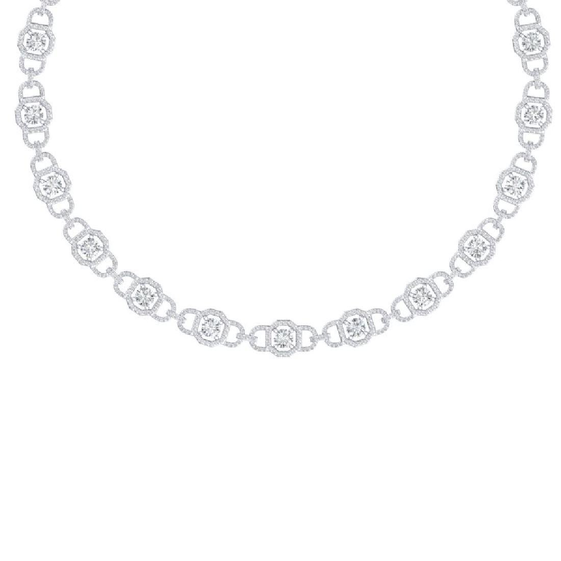 25 CTW Certified SI/I Diamond Halo Necklace 18K White