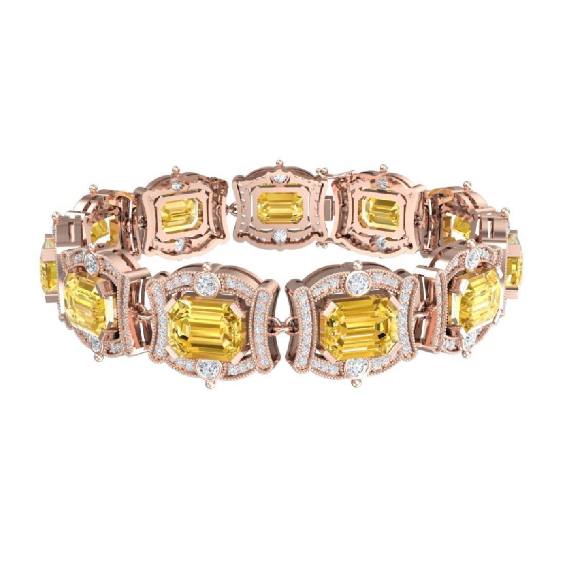 37.15 CTW Royalty Canary Citrine & VS Diamond Bracelet - 3