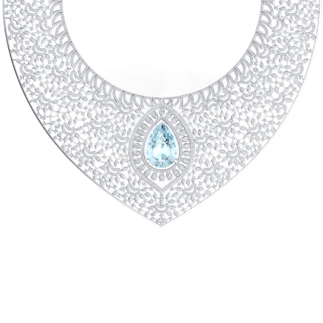 63.27 CTW Royalty Sky Topaz & VS Diamond Necklace 18K - 2