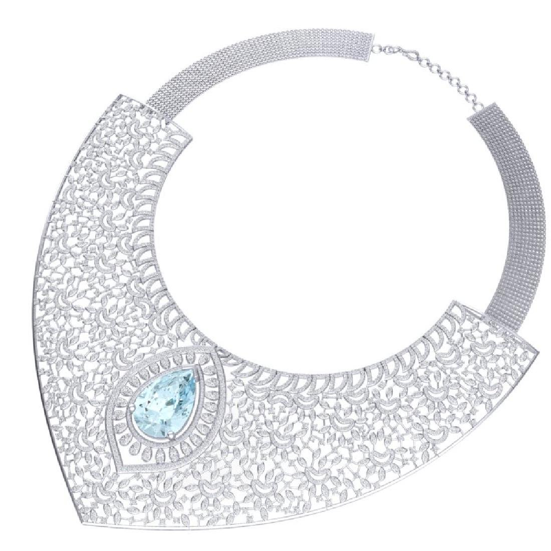 63.27 CTW Royalty Sky Topaz & VS Diamond Necklace 18K - 3