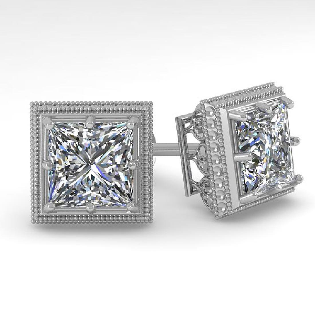 2.0 CTW VS/SI Princess Diamond Stud Earrings 14K White