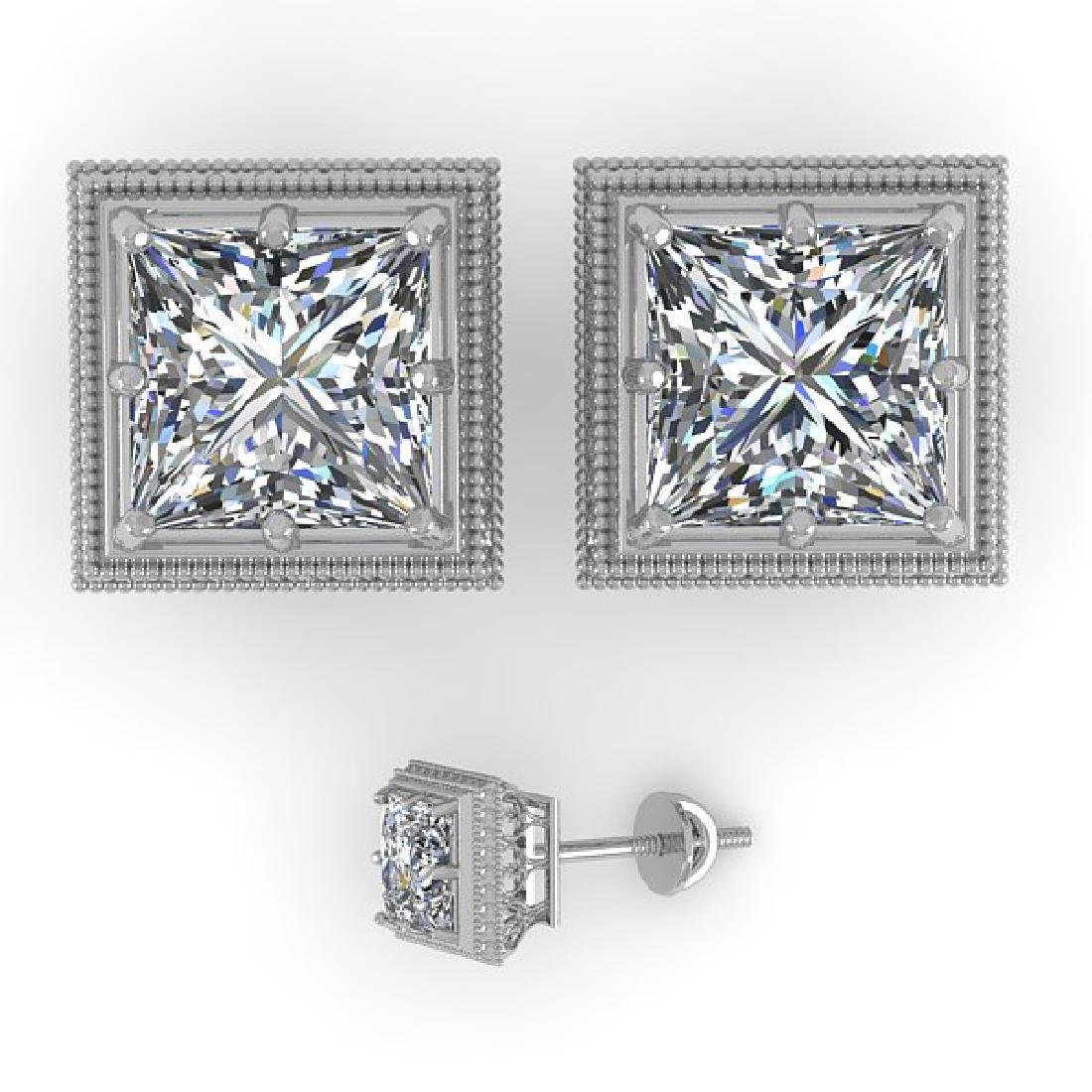 2.0 CTW VS/SI Princess Diamond Stud Earrings 14K White - 2