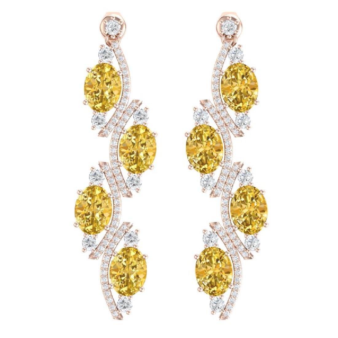 13.32 CTW Royalty Canary Citrine & VS Diamond Earrings
