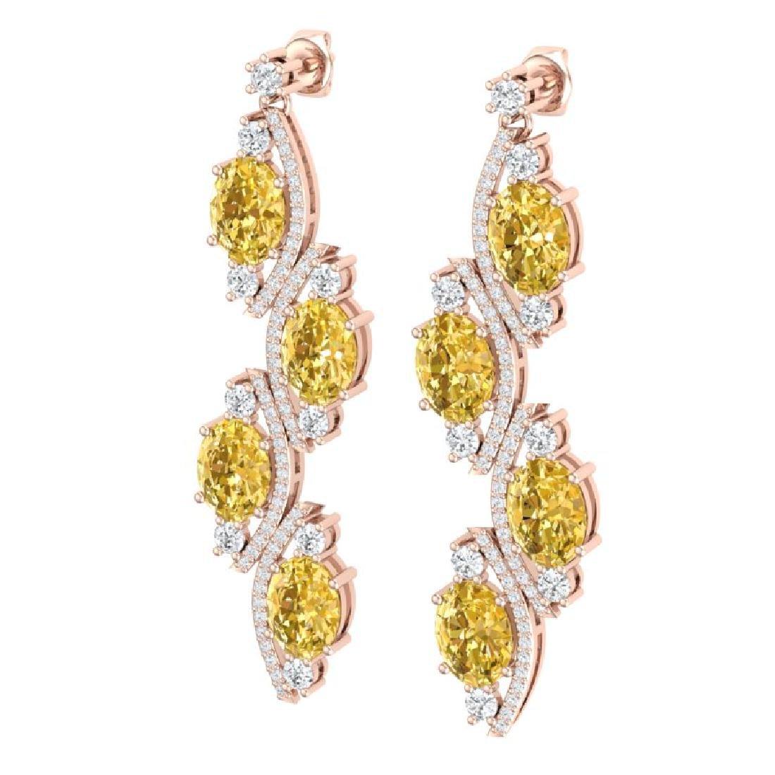 13.32 CTW Royalty Canary Citrine & VS Diamond Earrings - 2
