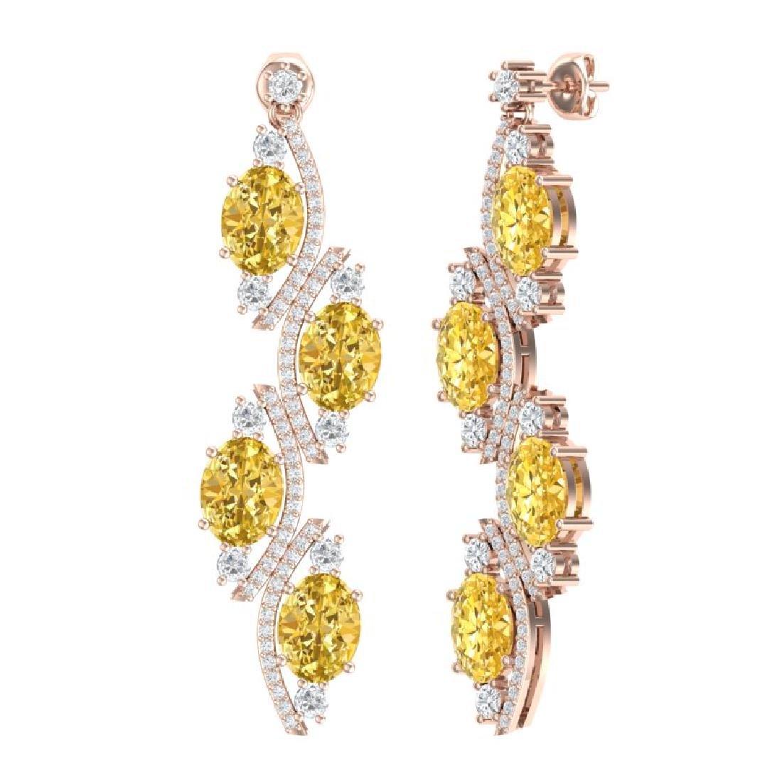 13.32 CTW Royalty Canary Citrine & VS Diamond Earrings - 3